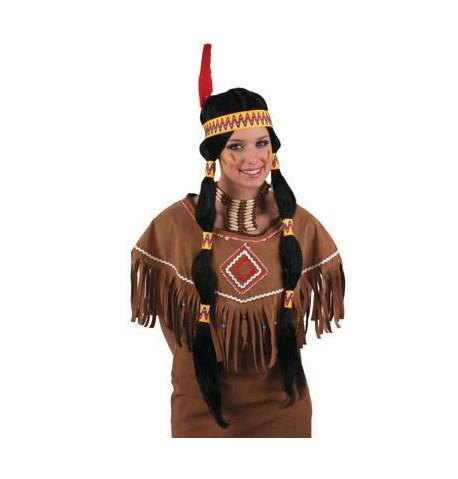 Perruque longue noire indienne femme