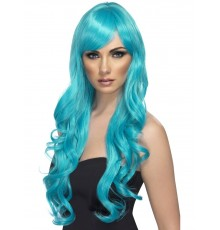 Perruque longue ondulée bleue turquoise femme