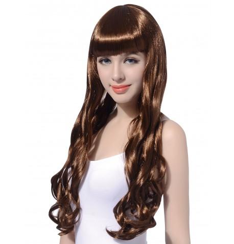 Perruque longue ondulée chatain femme