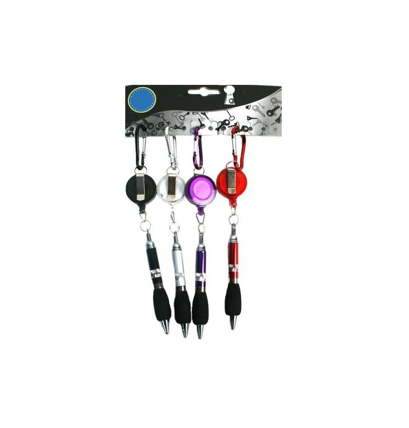 Porte cl s stylo avec enrouleur et mousqueton for Meuble porte enrouleur