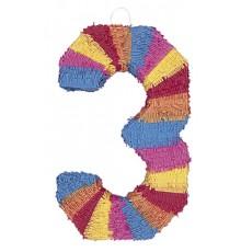 Pinata du chiffre 3 multicolore