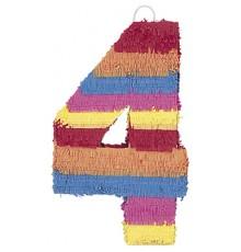 Pinata du chiffre 4 multicolore