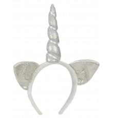 Serre-tête licorne argent avec oreilles adulte
