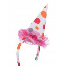Serre-tête mini chapeau clown multicolore adulte