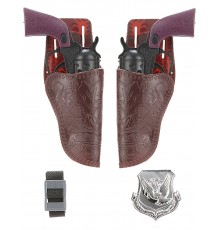 Set de 2 pistolets cow boy en plastique enfant
