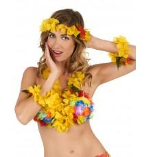 Set Hawaï jaune floral adulte