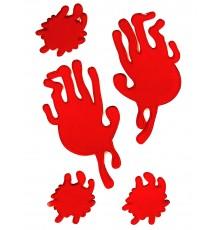 Traces de main et taches de sang en gel
