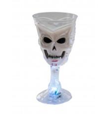 Verre lumineux blanc tête de mort Halloween