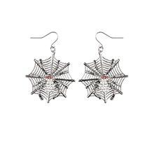 Boucles d'oreilles métal toile d'araignées femme Halloween