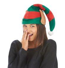 Bonnet lutin du Père Noël rayé avec oreilles adulte