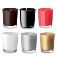 Petite bougie parfumée en verre coloré en 6 couleurs différentes