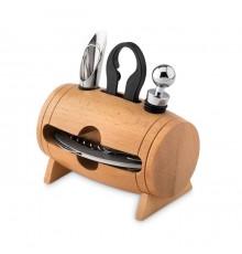 Mini tonneau en bois avec 4 accessoires à vin