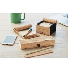 Set de papeterie en bambou avec 7 pièces