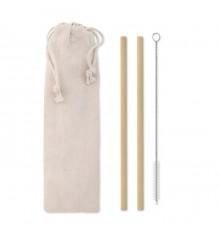 Pailles de bambou réutilisables avec brosse de nettoyage