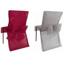 Lot de 10 housses de chaise premium intissées bordeaux gris