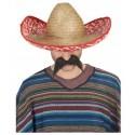 Sombrero en Paille avec Bordure Blanc et Fuchsia
