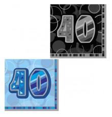 16 Serviettes en papier Age 40 ans 33 x 33 cm