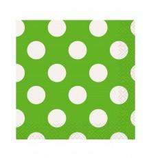 Pack de 16 Serviettes à Pois Blanc en Papier 33 x 33 cm
