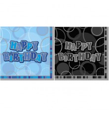 Pack 16 Serviettes en papier Happy Birthday 33 x 33 cm