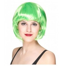 Perruque cheveux courts vert fluo