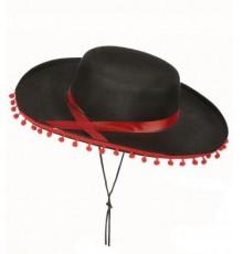 Chapeau Espagnol avec Pompons Noir & Rouge
