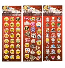 Plaque de 24 Stickers autocollants Emoji