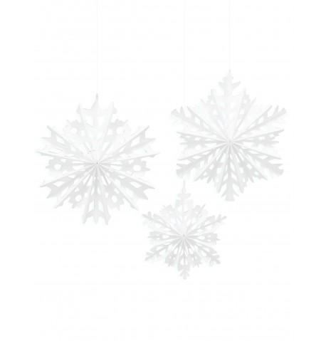 3 Suspensions Flocons de neige Noël