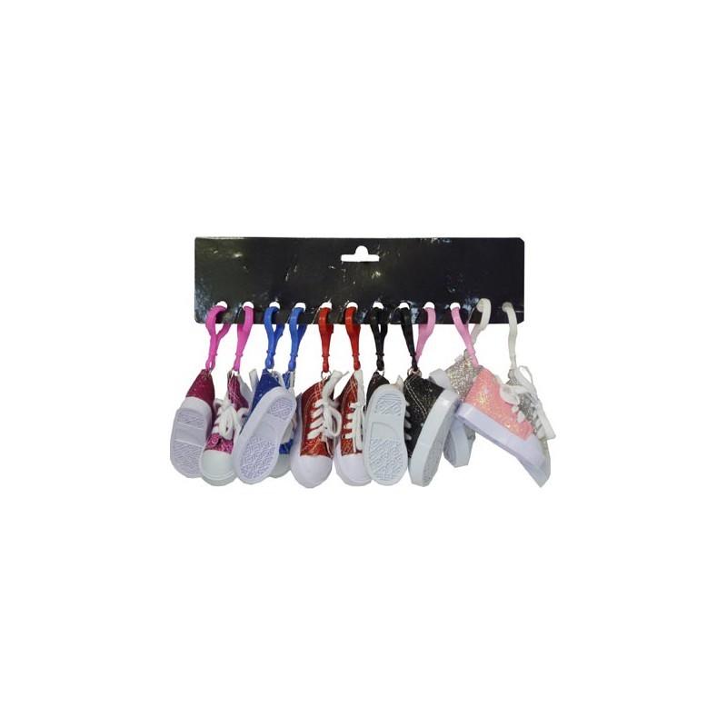 Porte-clés baskets à paillettes 7,5 cm