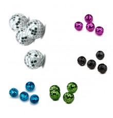 4 Mini boules à facettes fuchsia 3,5 cm