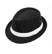 Chapeau de gangster rayé couleur noir