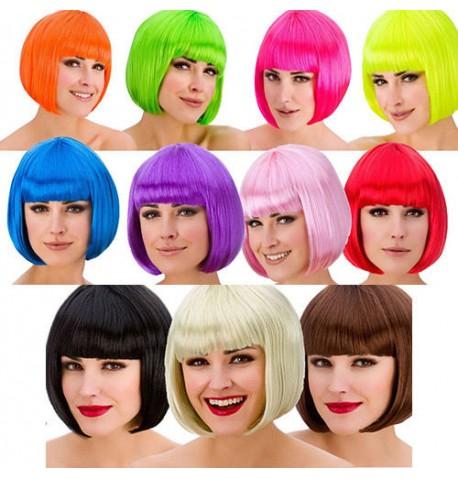 Perruque coupe au carré fluo de coloris différents