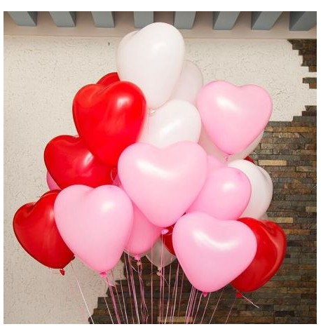 Lot de 100 ballons Coeur Blanc et Rouge