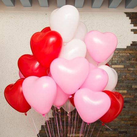 Lot de 100 Ballons Coeur Blanc, Rouge ou Mélange