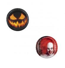 Pack de 6 Assiettes en Carton Motif Citrouille et Clown Terrifiant