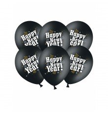 "6 Ballons Lot de 6 Ballons de Décoration ""Happy New Year""happy new year noir"