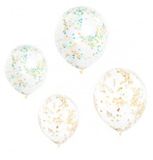 Pack de 6 ballons transparents à confettis