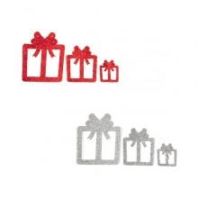 6 Décorations Cadeaux à Paillettes