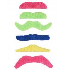 Paquet de 6 Moustaches Adhésives Couleur Fluo