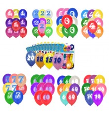 Sachet de 8 Ballons imprimés de chiffre