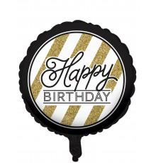 Ballon d'anniversaire motifs noir et or