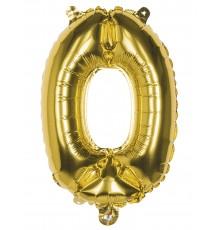 Ballon aluminium chiffre 0 doré 36 cm
