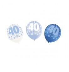 Lot de 6 Ballons Age Couleur Bleue