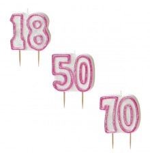 Bougie Age 70 ans rose