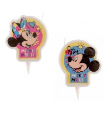 Bougie ronde à l'effigie de Mickey et Minnie 7,5 cm