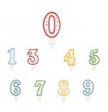 Bougie Chiffre Multicolore 7,5 cm avec Pic en Plastique