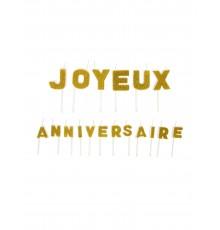 Bougies Lettres joyeux Anniversaire Pailletées