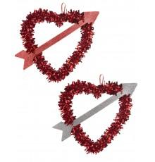 Coeur rouge avec flèche Saint Valentin 27 x 33 cm