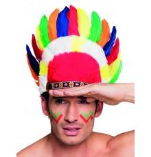 Coiffe d'indien plumes colorées adulte