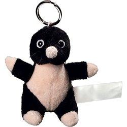 Porte clés peluche taupe  noir 10 cm