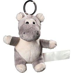 Porte clés peluche hippopotame  gris 10 cm